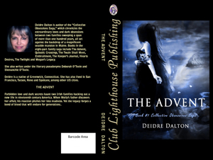 "Front and back cover design for paperback edition of ""The Advent."" Click on image to view larger size in a new window."