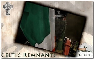 "Logo button for the fiction novel ""Celtic Remnants"" by Deborah O'Toole."