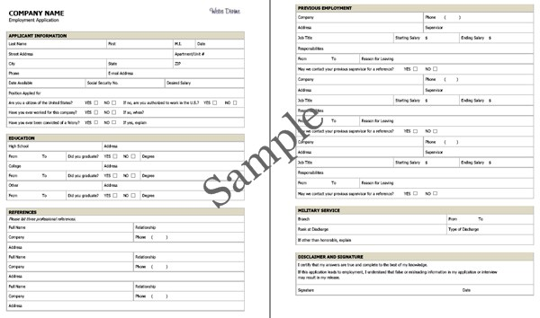 Employment Application Sample (PDF). Click On Image To See Larger Size In A